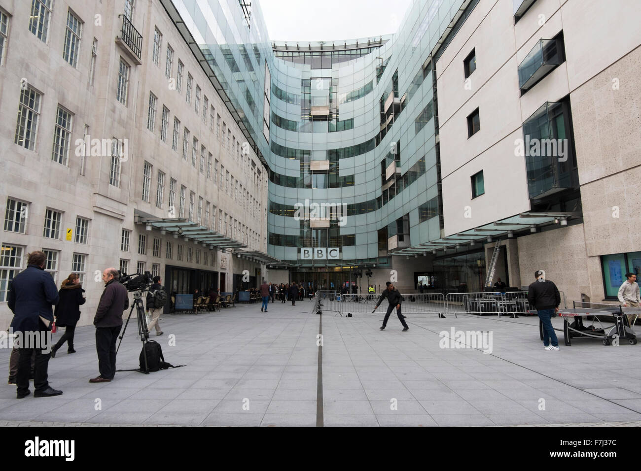 A Tv Crew And People Playing Table Tennis Outside Bbc