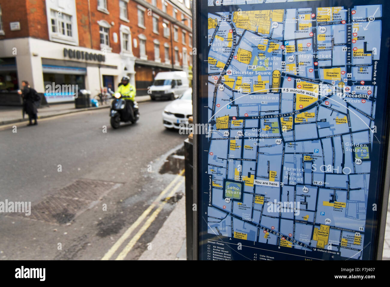Street sign showing a map of where you are at Wardour Street and directions to destinations in London, England, - Stock Image