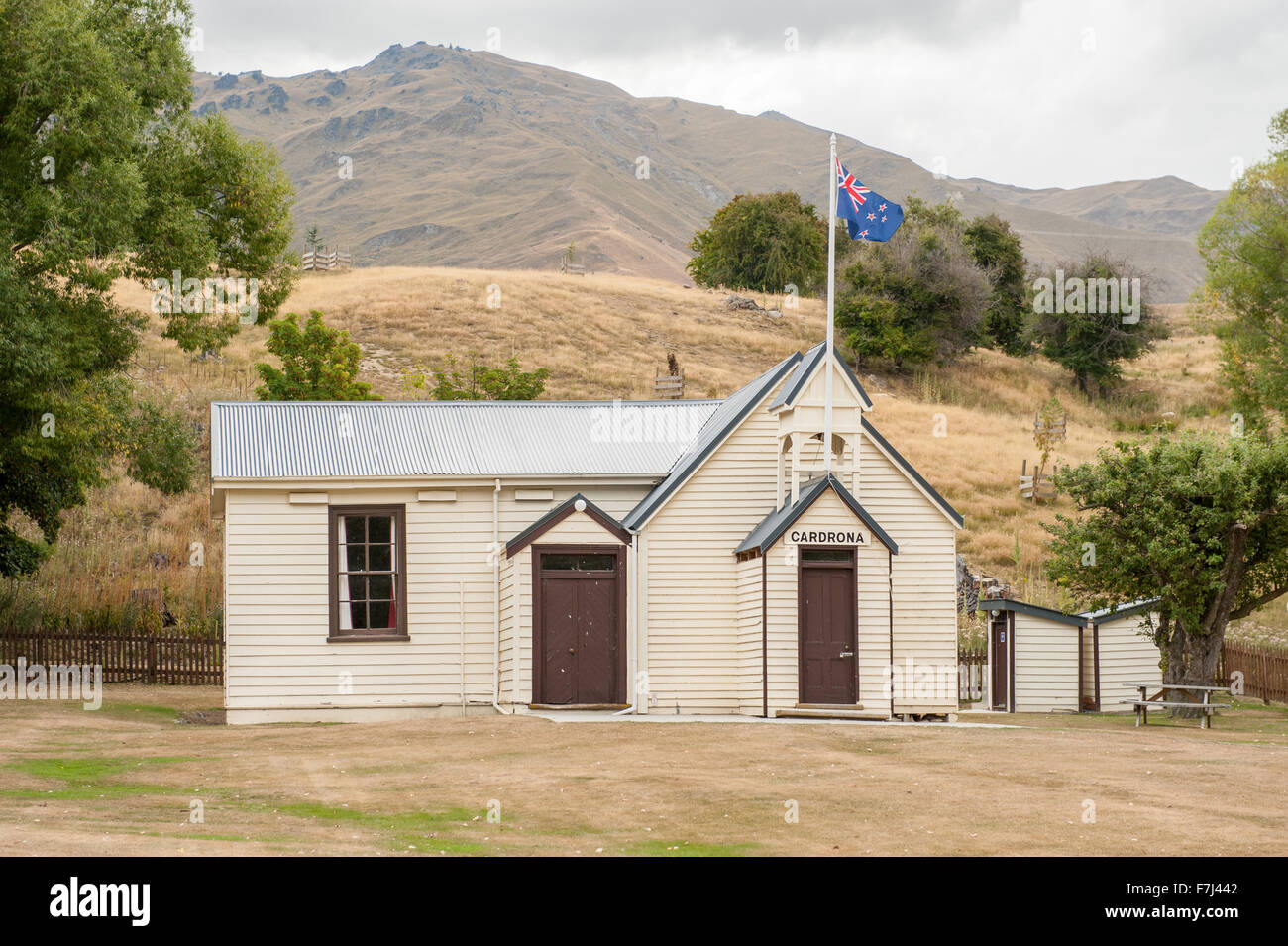 Vintage church in scenic Cardrona, Central Otago, South Island, New Zealand. - Stock Image