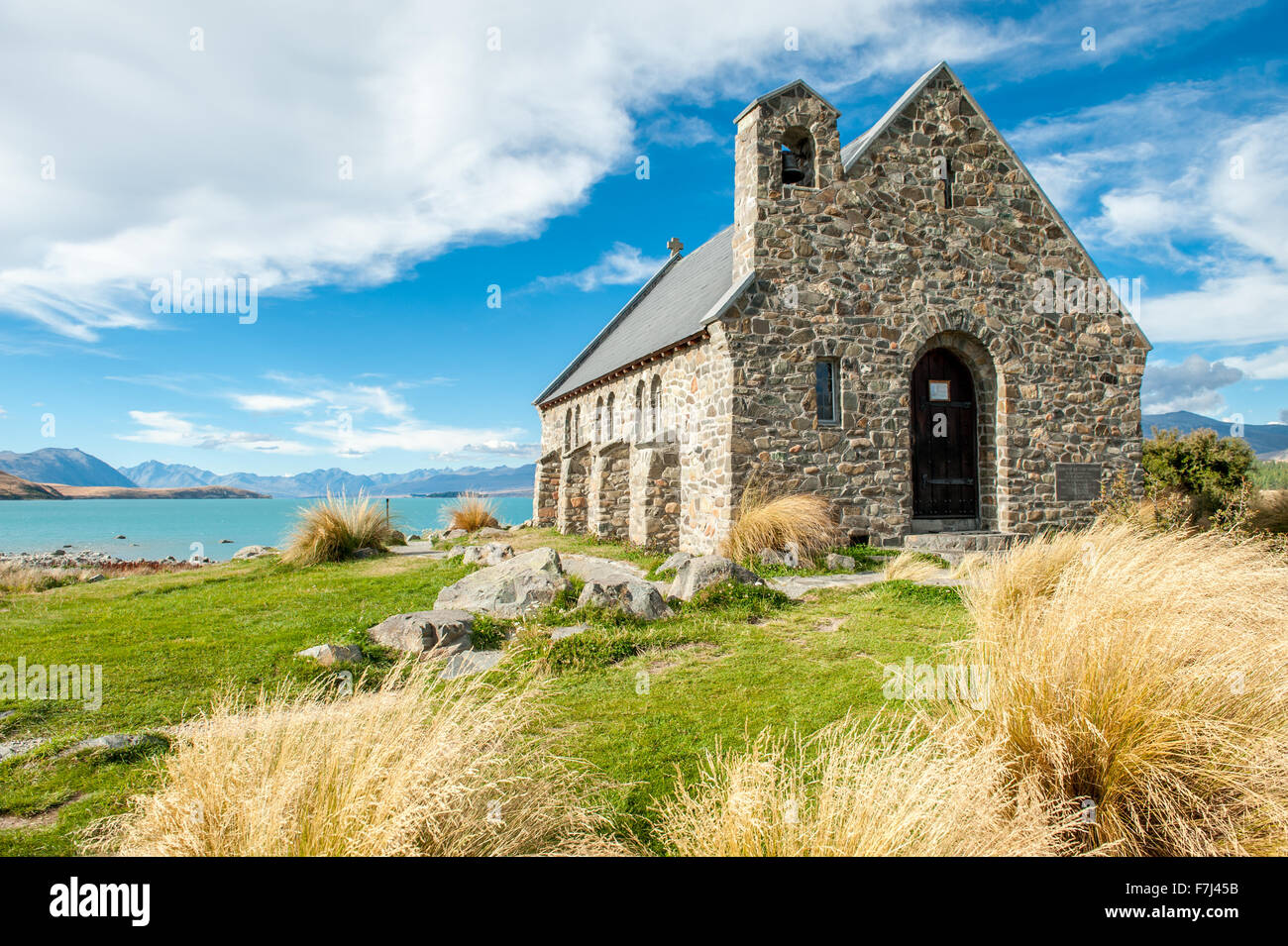 Windy day at Church of the Good Shepherd, Lake Tekapo, New Zealand - Stock Image