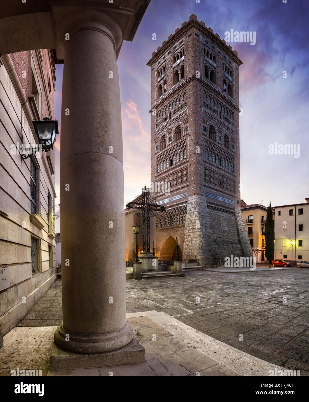 Mudejar Tower of San Martin in Teruel, Spain - Stock Image