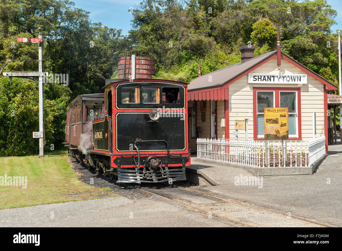 Shantytown Heritage Park south of Greymouth on South Island, New Zealand. Stock Photo