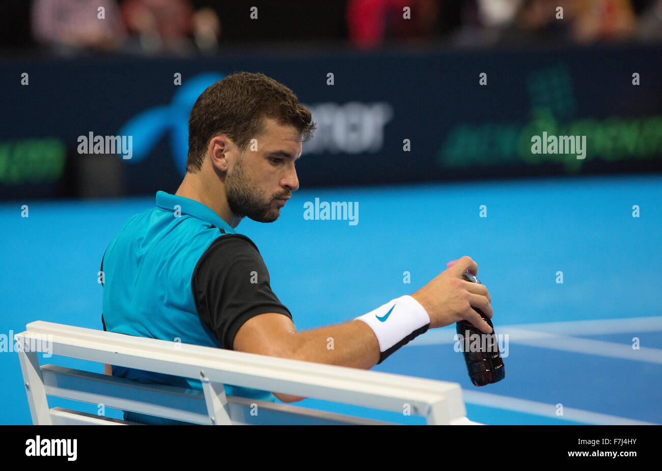 Sofia, Bulgaria - November 28, 2015: Sofia, Bulgaria - Grigor Dimitrov defeated Monfils in a demonstrative match - Stock Image