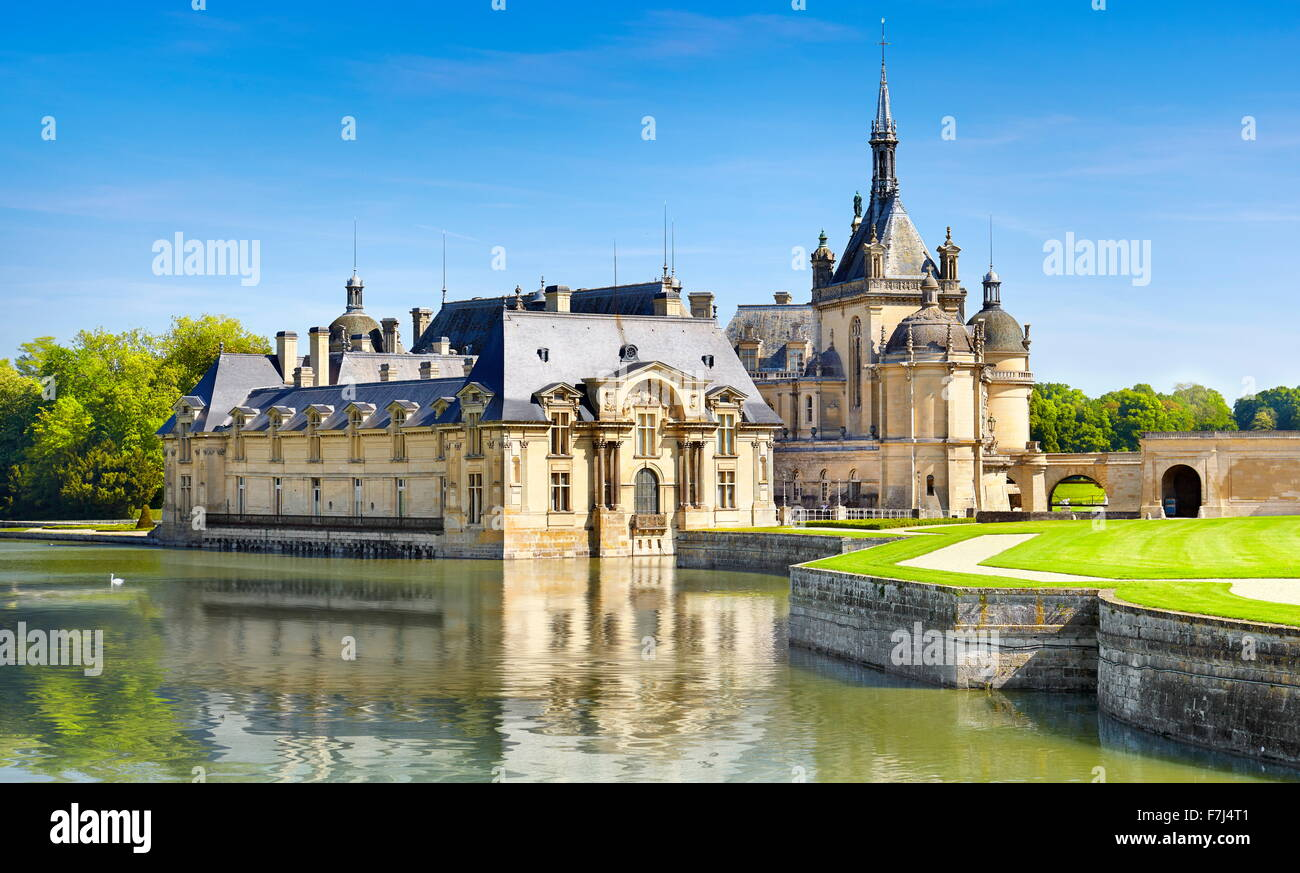 Chantilly Castle (Chateau de Chantilly) France - Stock Image