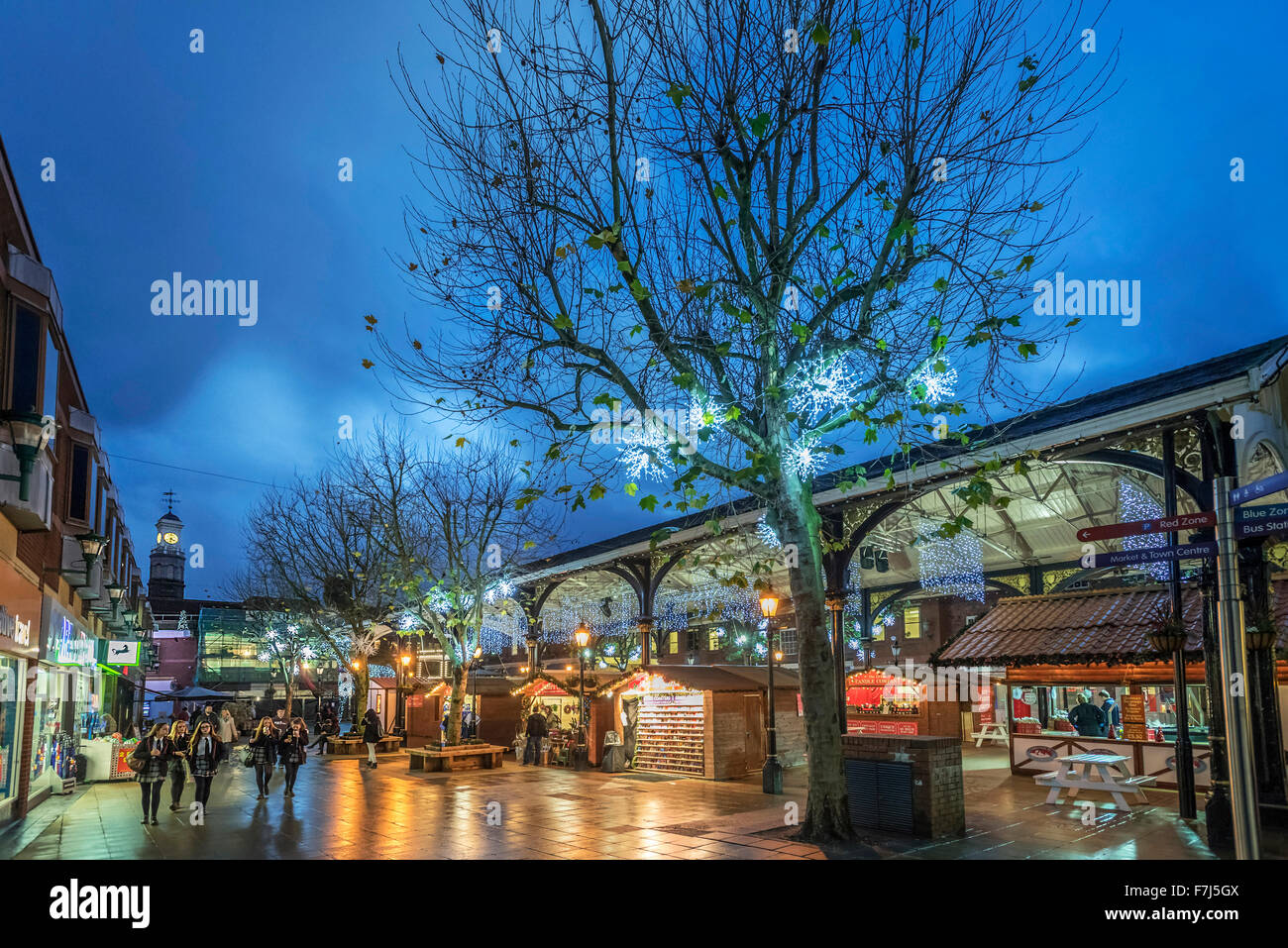 Warrington town centre christmas lights and decorations. Golden Square and the old fishmarket. - Stock Image