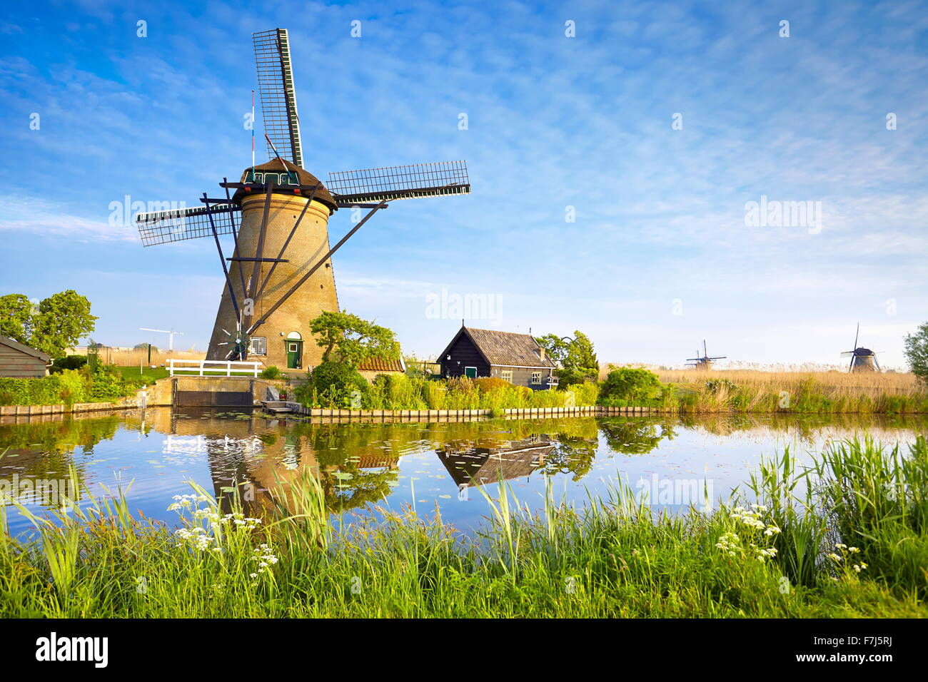 Kinderdijk windmills - Holland Netherlands - Stock Image