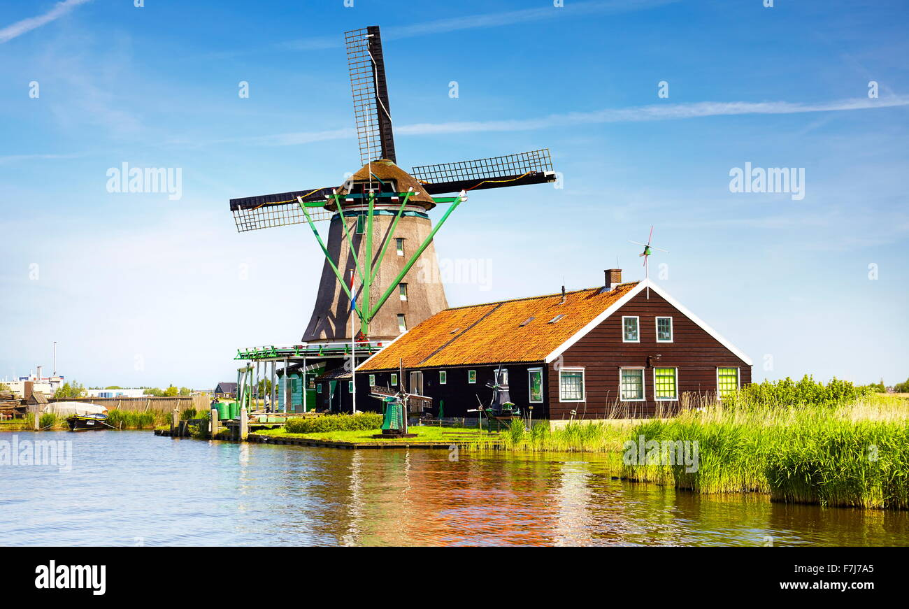 Windmills in Zaanse Schans museum - Holland Netherlands - Stock Image