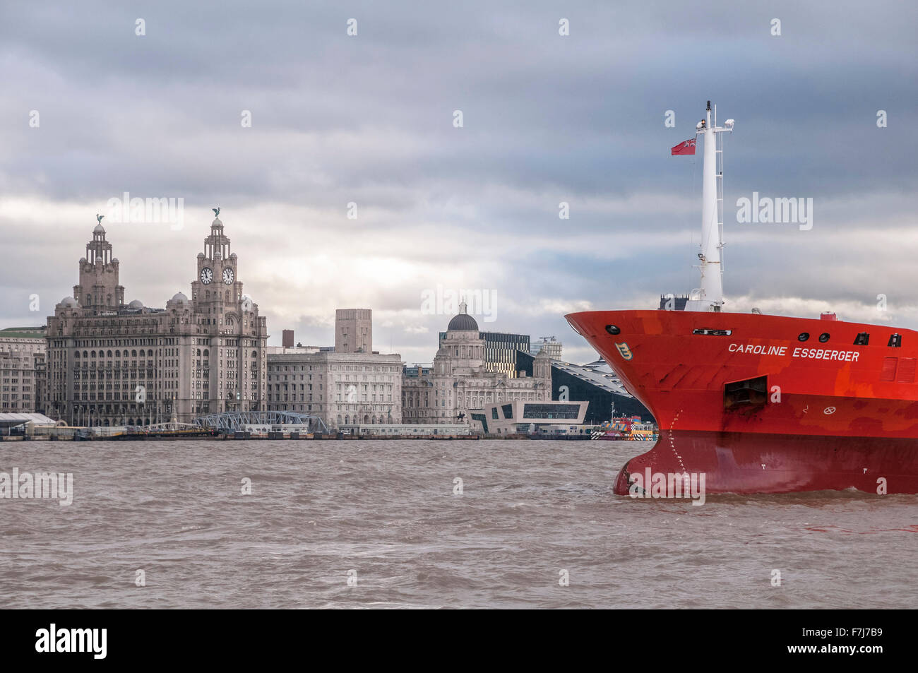 The oil and chemical tanker ship the Caroline Essberger from Holland in the river Mersey. - Stock Image