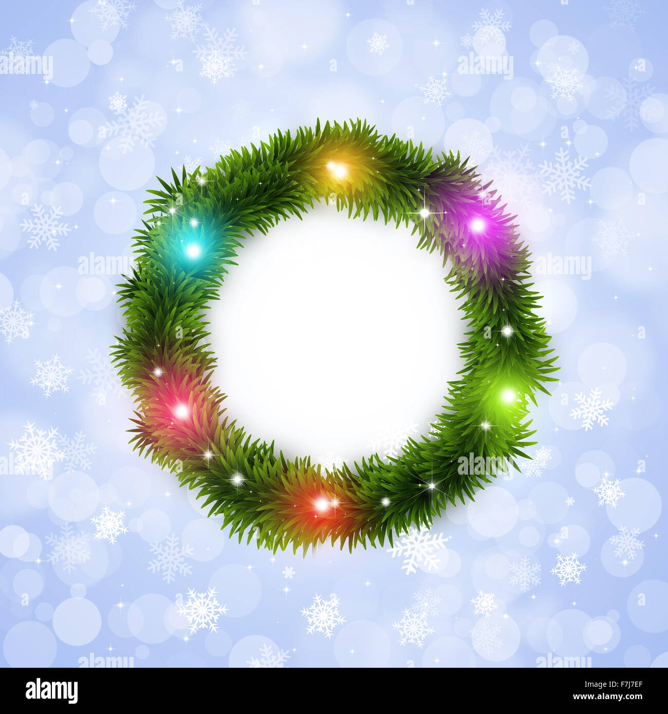 winter holiday christmas tree ring white background with multicolor ...
