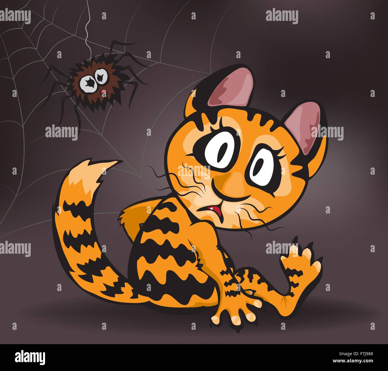 Ginger cat and spider on a dark brown background, vector illustration Stock Vector