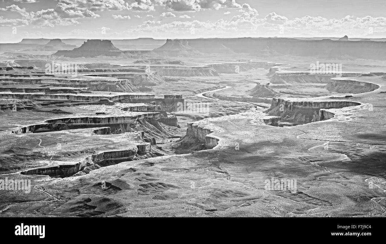 Monochromatic photo of Canyonlands National Park, Utah, USA - Stock Image