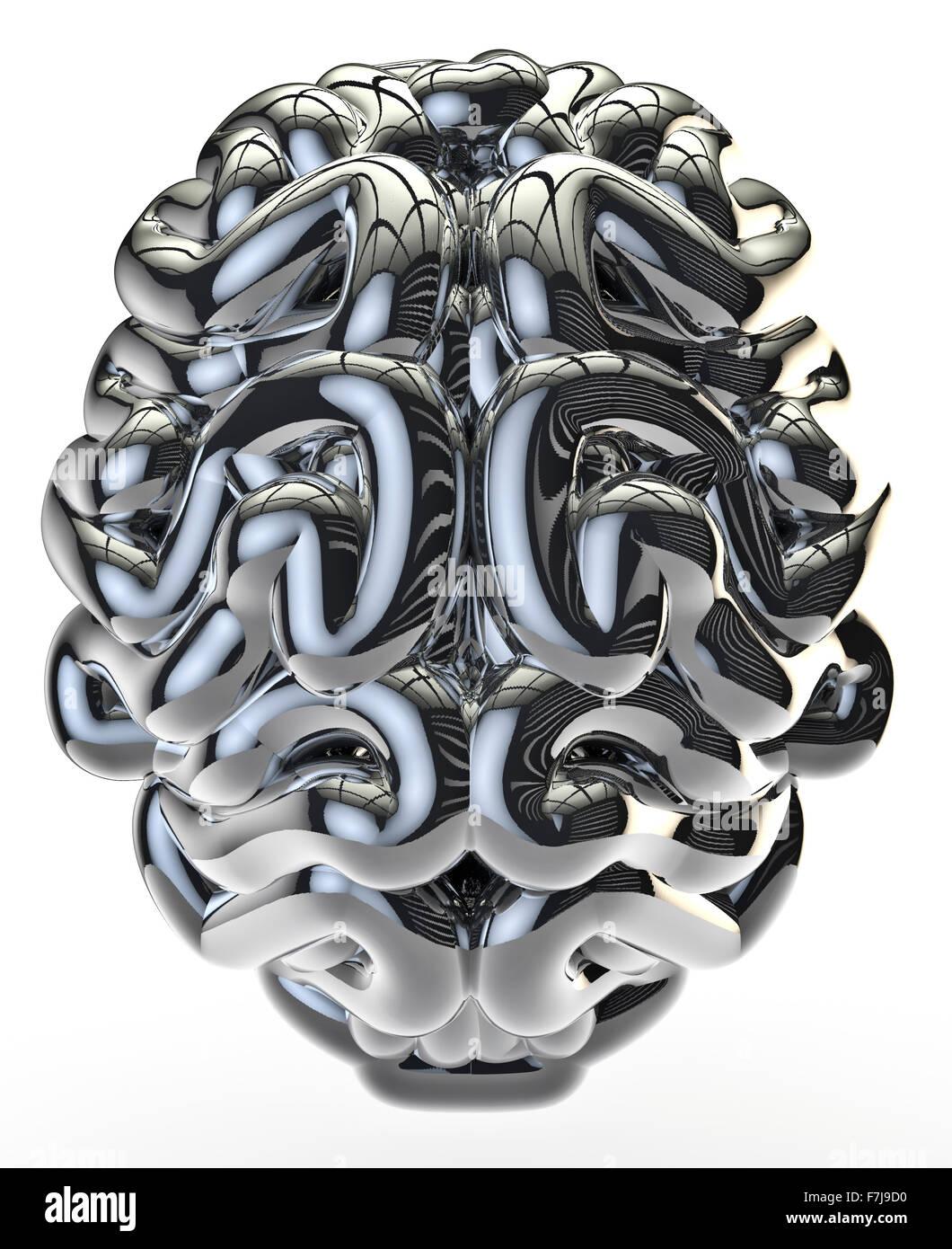 Chrome brain / 3D render of brain isolated on white - Stock Image