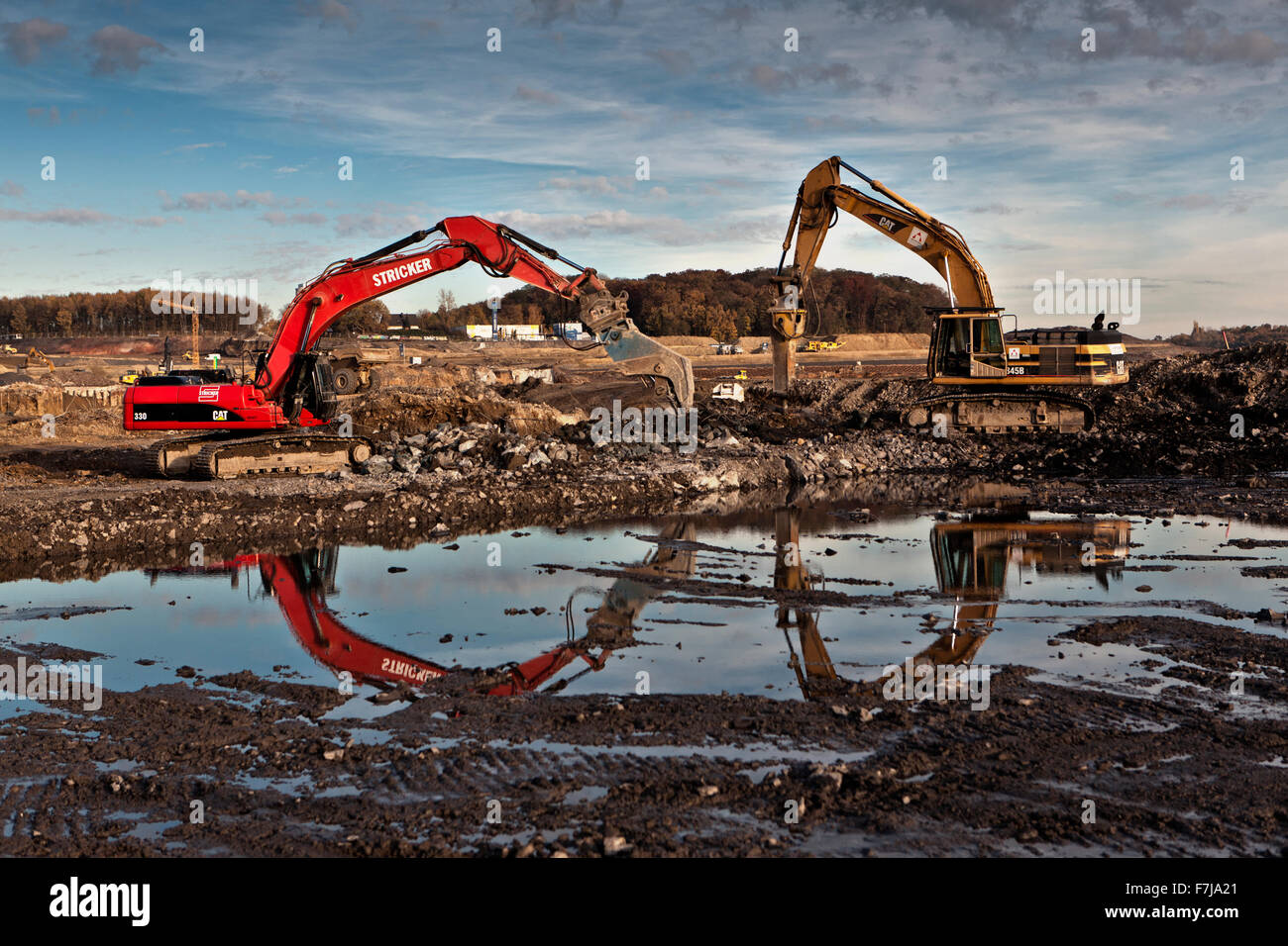 Excavators at the site of the former Phoenix steel plant in Dortmund Hoerde. Stock Photo
