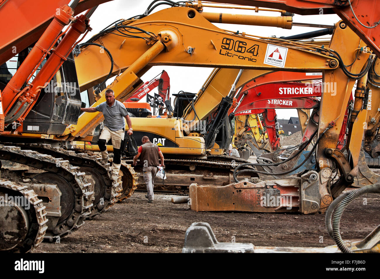 Excavators at the site of the former Phoenix steel plant in Dortmund Hoerde. - Stock Image