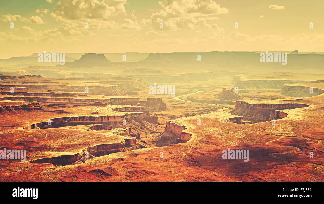 Vintage stylized Canyonlands National Park landscape, Utah, USA - Stock Image