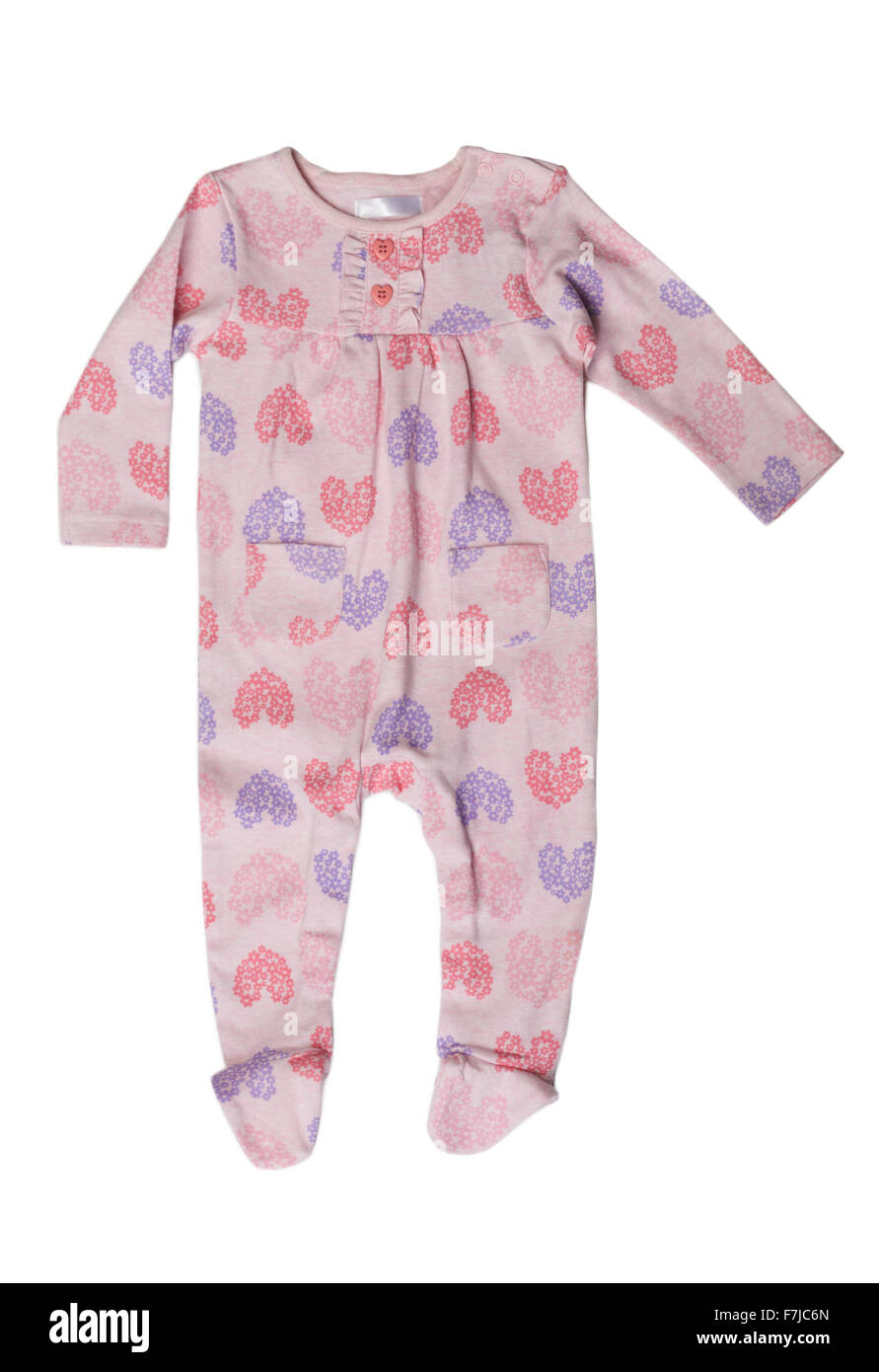 Pink rompers with a pattern. Isolate on white. - Stock Image
