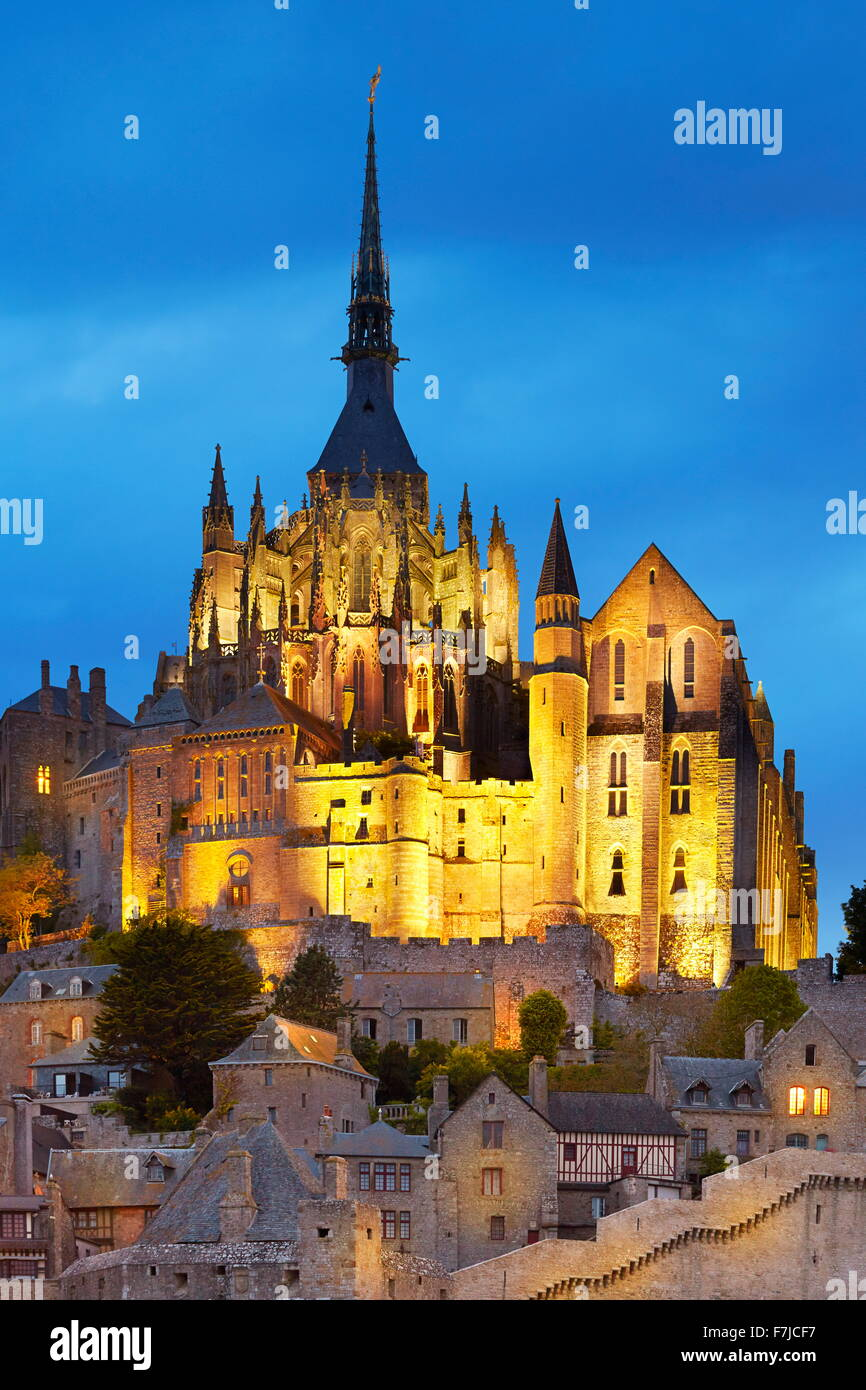 Evening view at Mont Saint Michel, Normandy, France - Stock Image