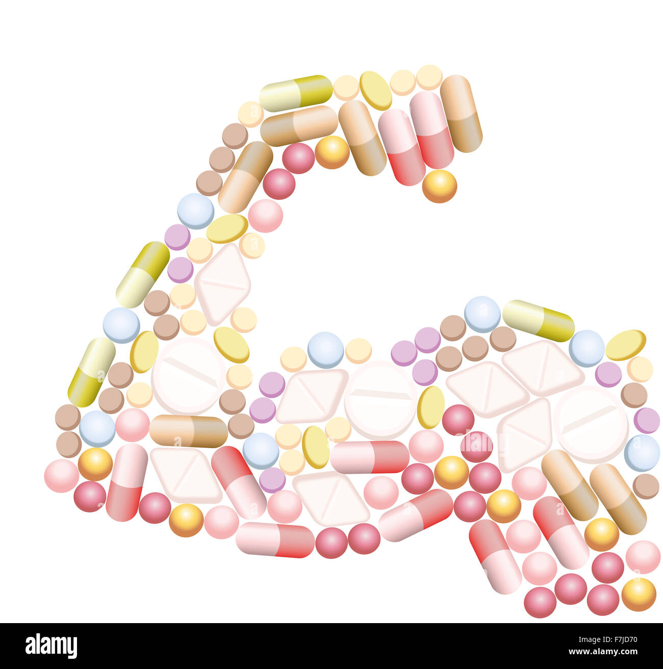 Doping - anabolic drugs, pills and capsules, that shape the biceps of a muscular arm. Stock Photo
