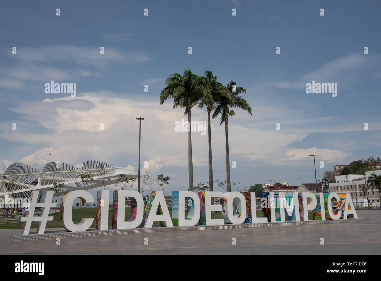 View of Praça Mauá with the #CIDADEOLIMPICA sign prominent in front of the Museu do Amanhã (Museum - Stock Image