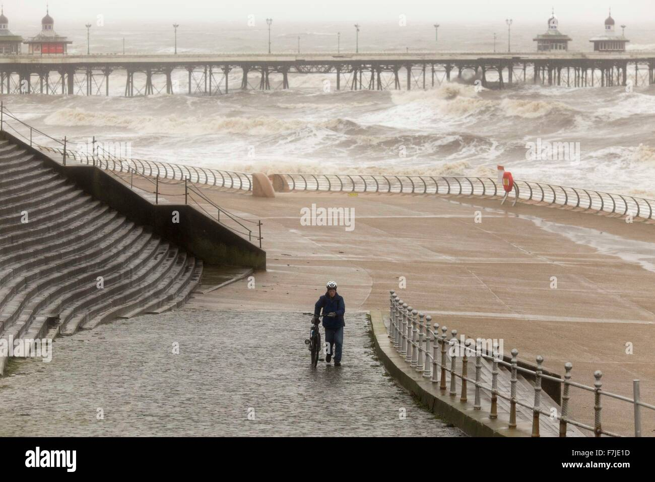30/11/15 . BLACKPOOL , England.   Heavy rain and strong winds hit Blackpool today (Mon 30th November 2015) - Stock Image