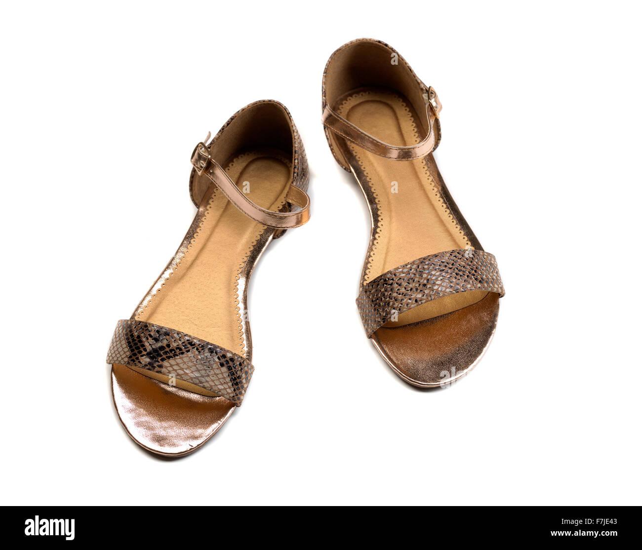 e12f4ec35b4c8 Beautiful photo of female leather sandals isolated on white background