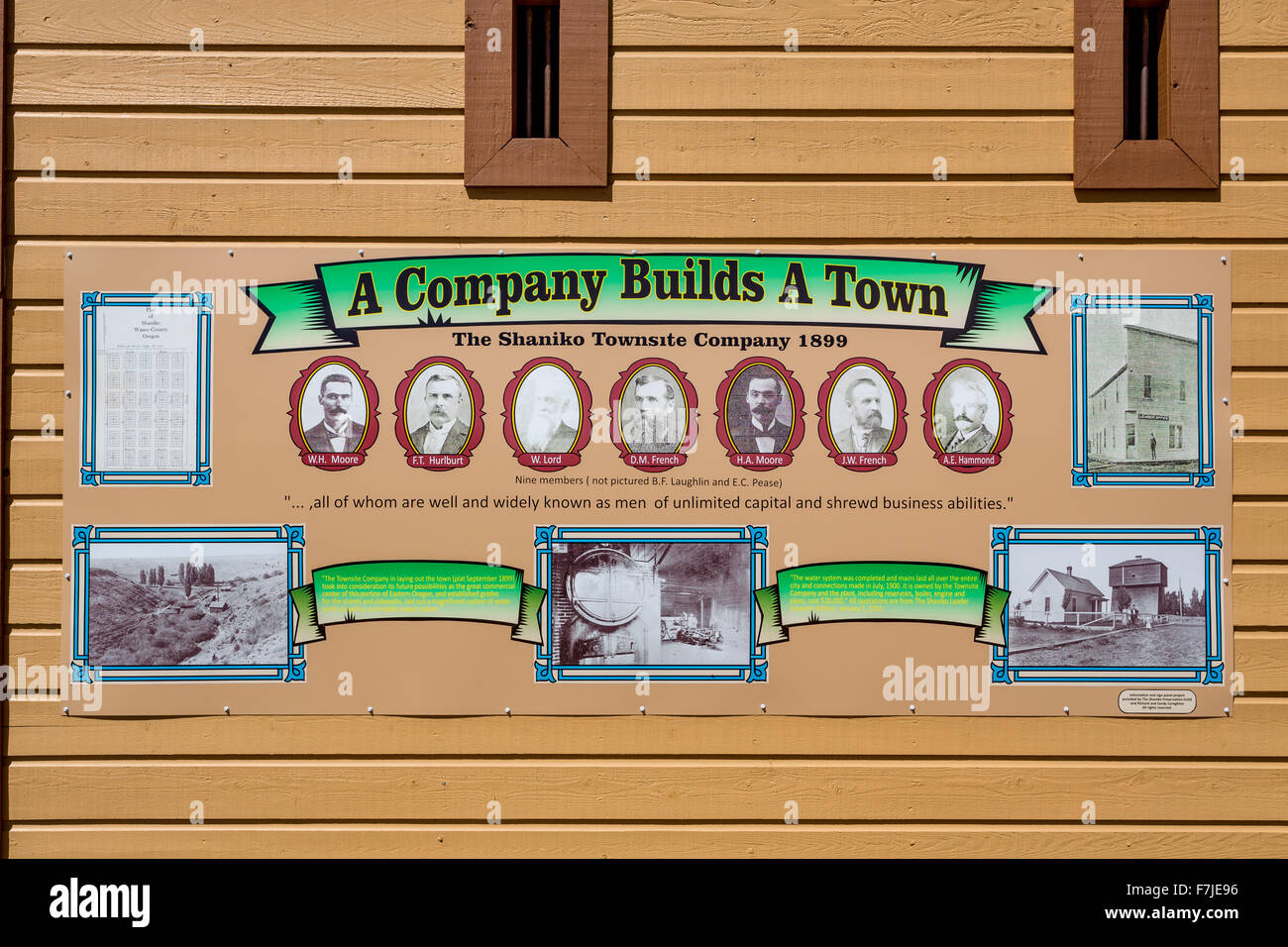 Posters showing the history of Shaniko, Wasco County, Oregon, United States - Stock Image