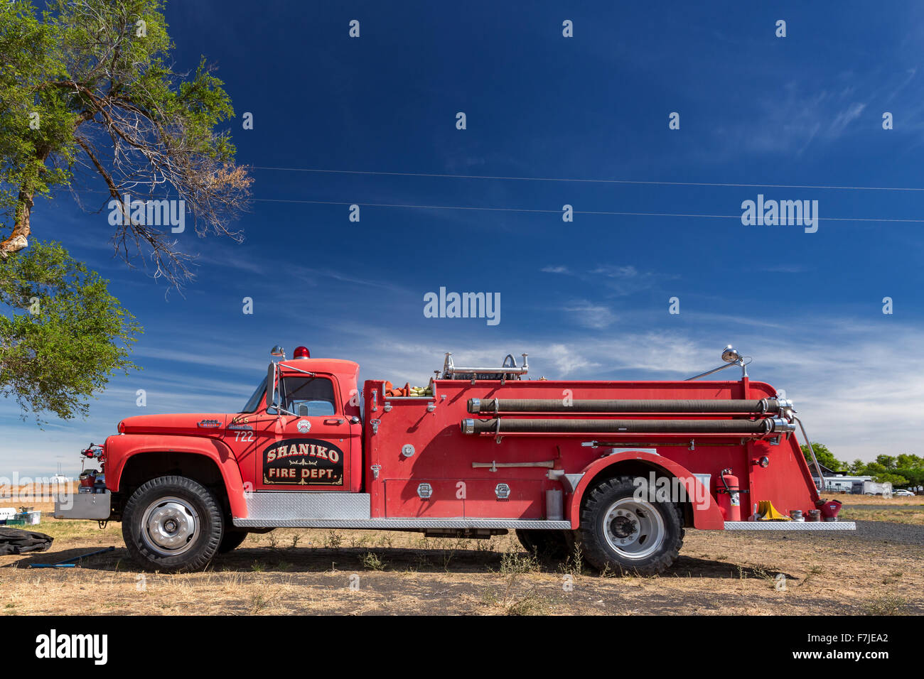 Shaniko Vintage Fire Truck, Shaniko, Wasco County, Oregon, United States    Stock