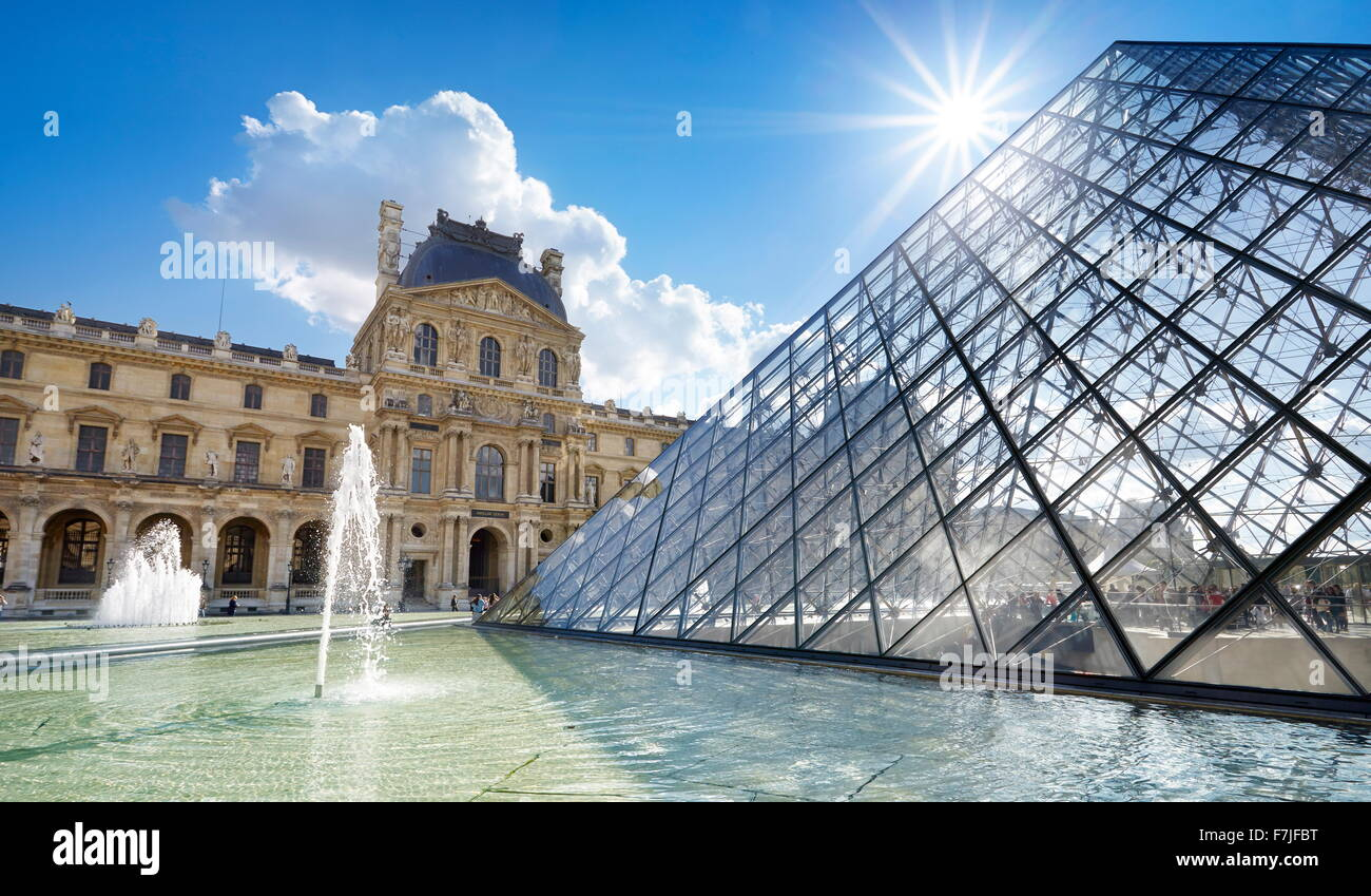 Glass pyramid Louvre Museum, Paris, France - Stock Image