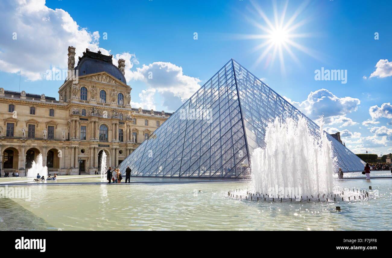 Glass pyramid Louvre Museum, Paris, France - Stock Image