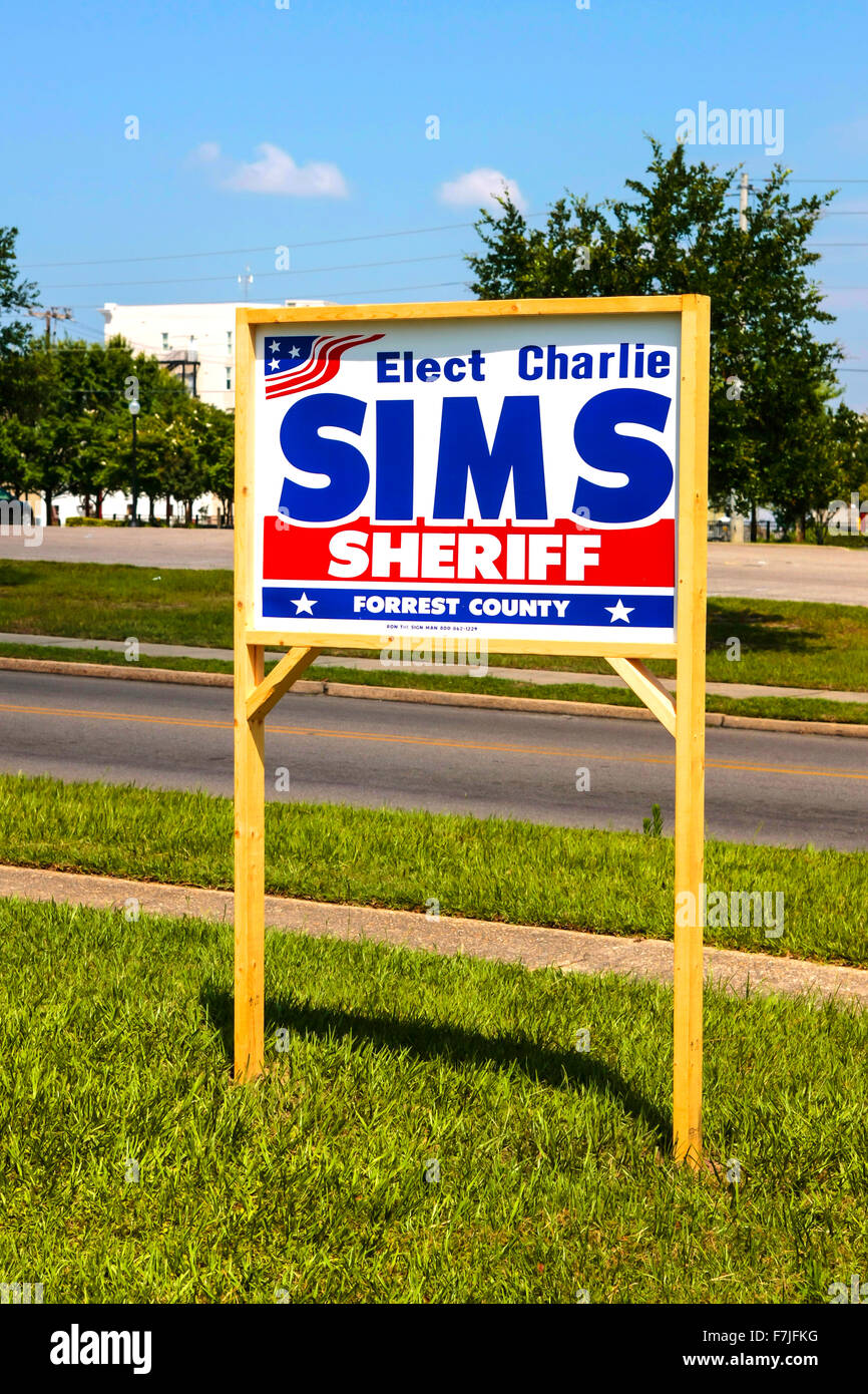 Elect Charlie Sims Sheriff of Forest County Hattiesburg Mississippi placard - Stock Image