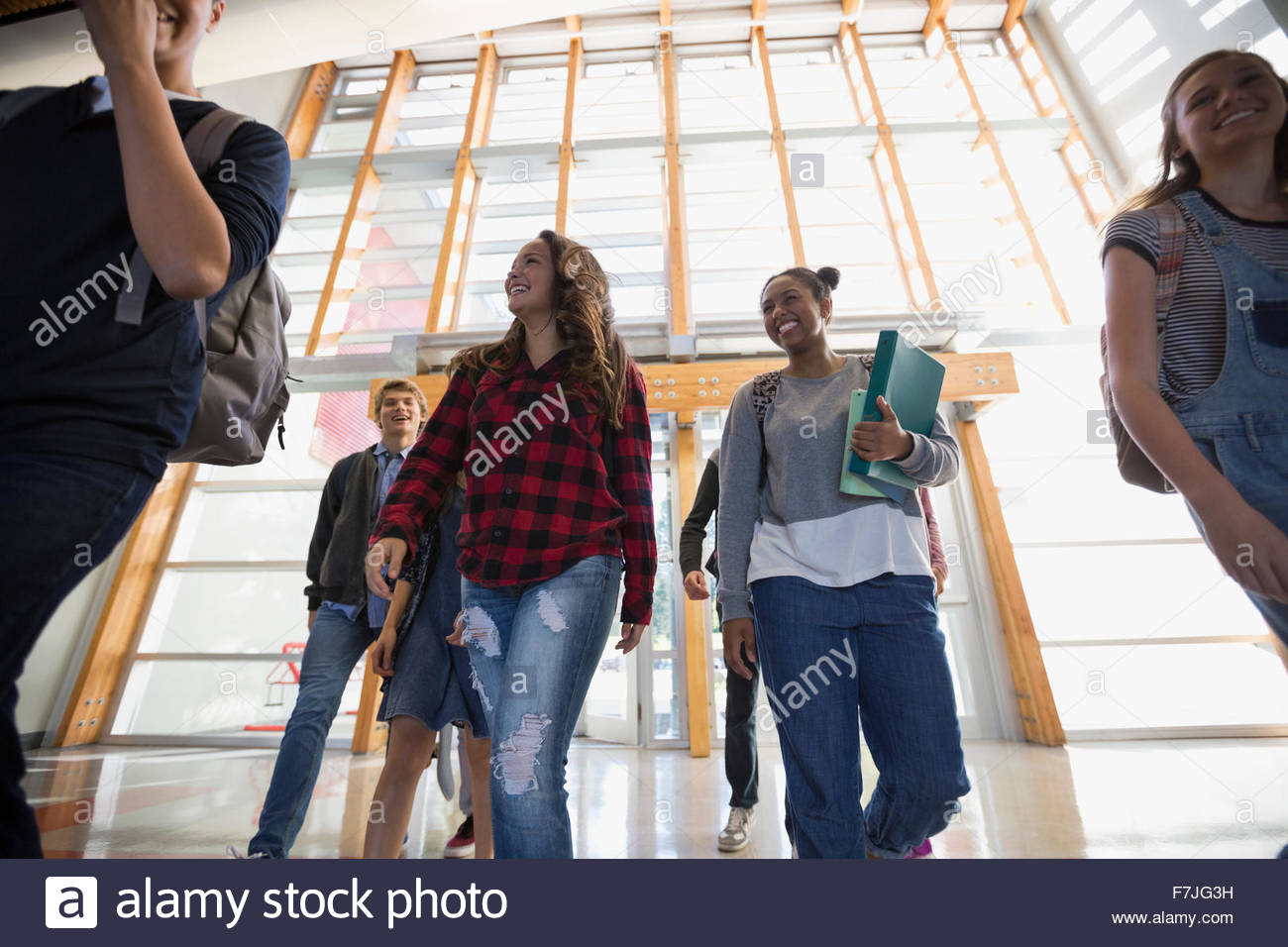 High school students arriving at school - Stock Image