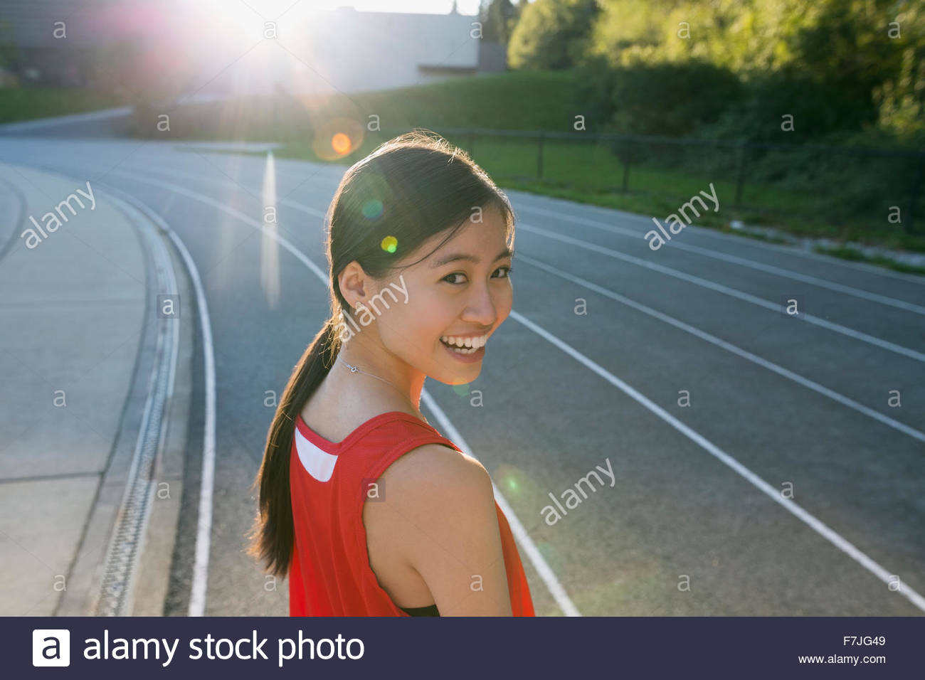 Portrait female high school track and field athlete Stock Photo
