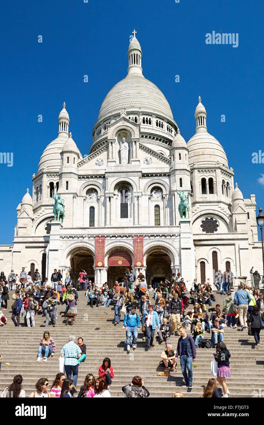 Basilica Of The Sacred Heart (Du Sacre-Coeur), Montmartre District, Paris, France - Stock Image