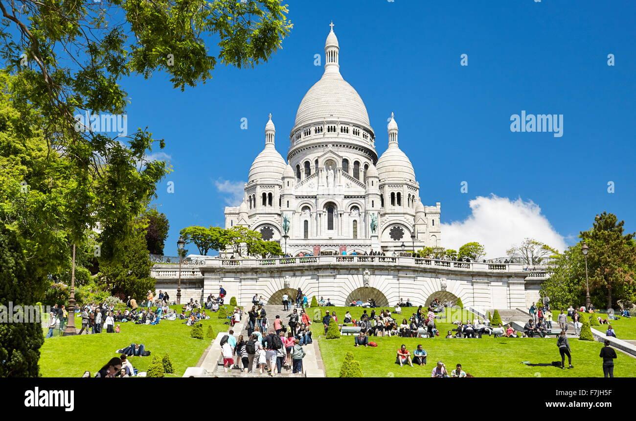 Basilica Of The Sacred Heart (Du Sacre-Coeur), Montmartre District, Paris, France Stock Photo