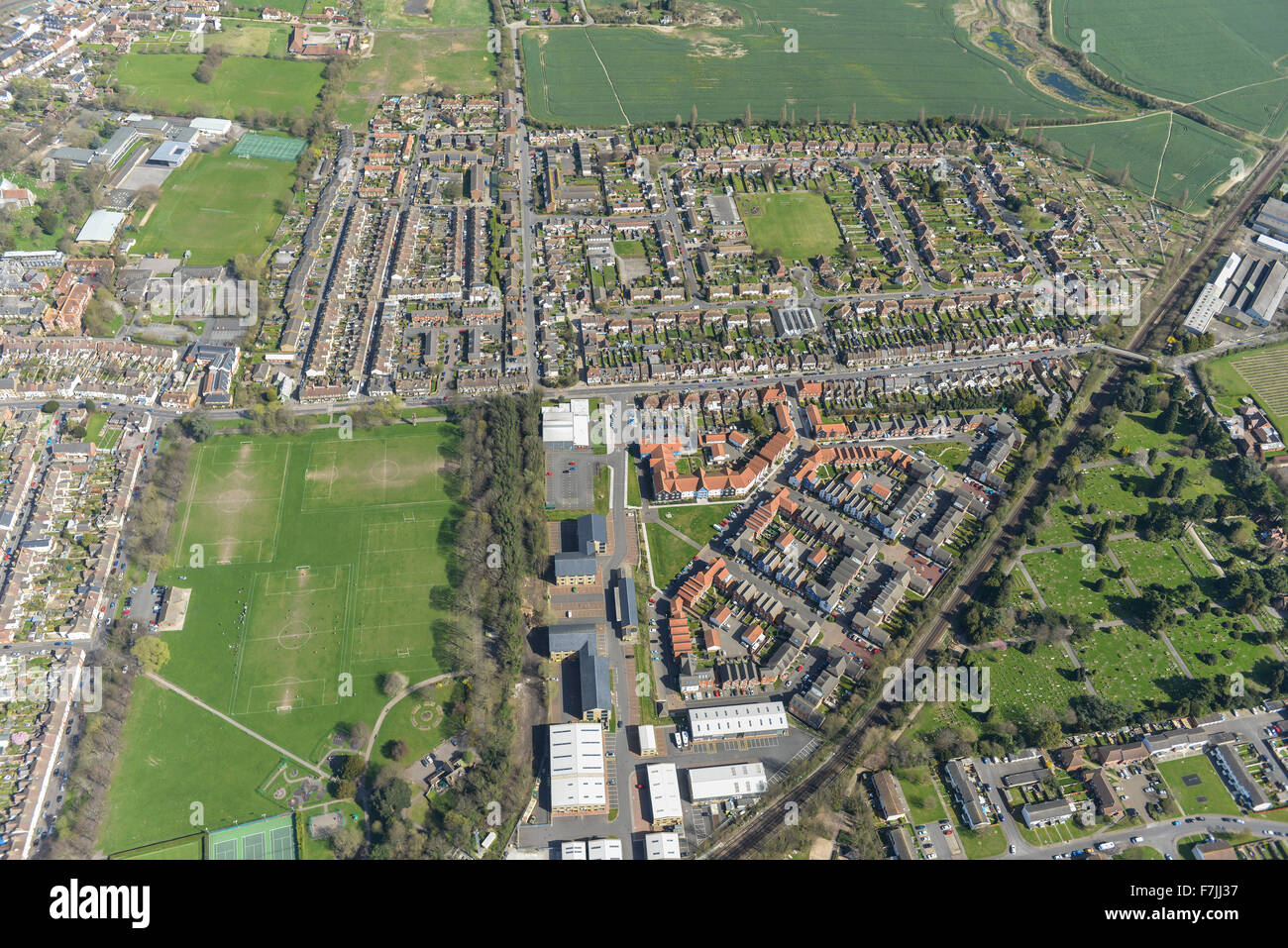 An aerial view of Faversham, a market town in Kent, UK - Stock Image