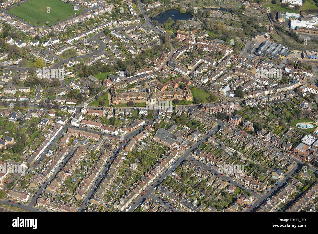 An aerial view of the area in the vicinity of the Almshouses, Faversham, Kent Stock Photo