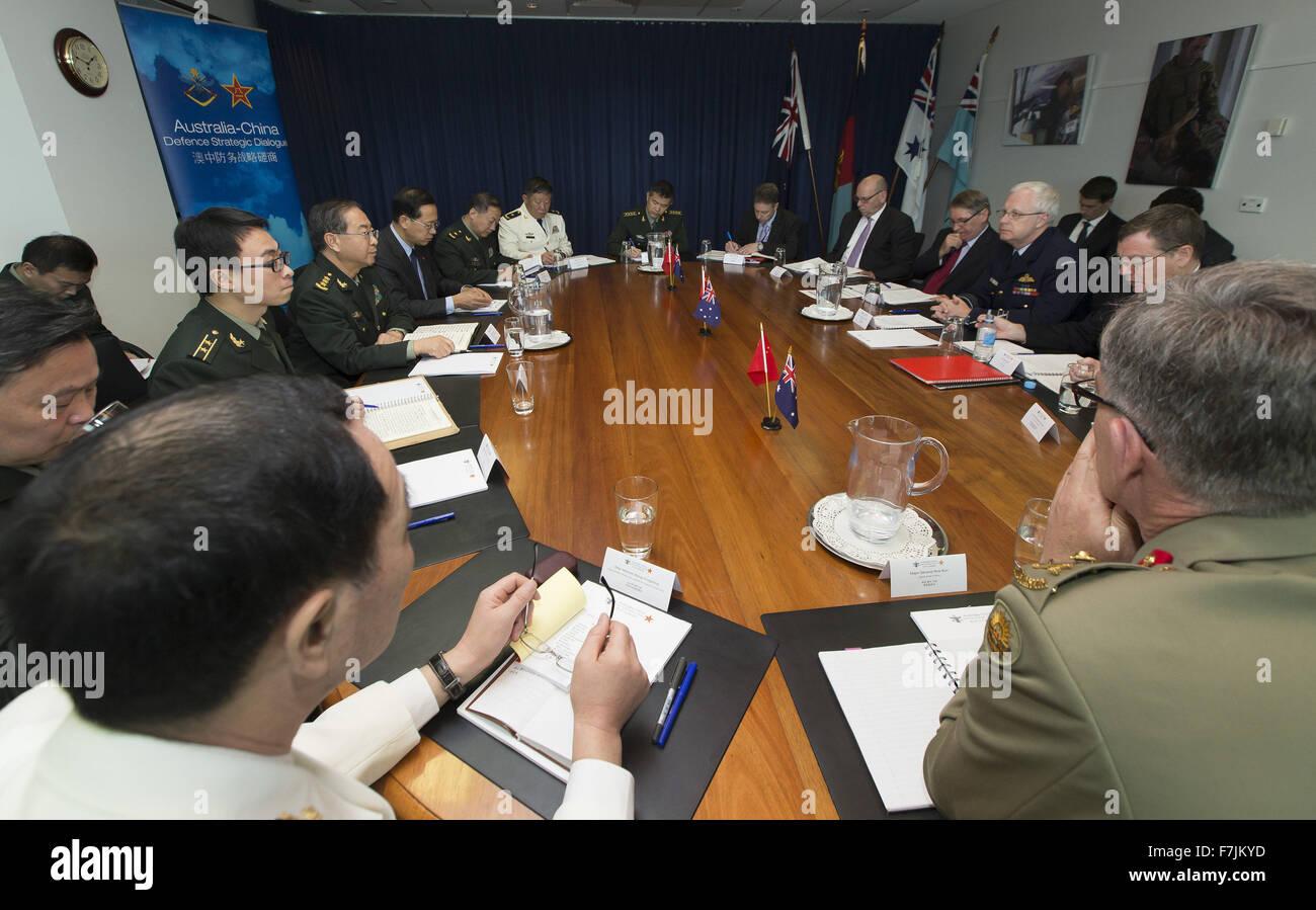 Canberra. 30th Nov, 2015. Photo taken on Nov. 30, 2015 shows delegates attending the Australia-China Defence Strategic - Stock Image