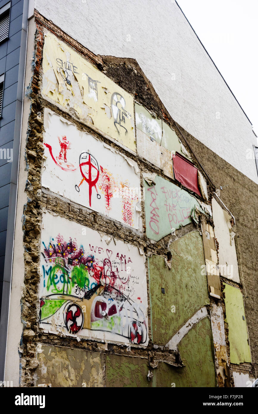 Graffiti on the wall of a torn-down house in Basel, Switzerland - Stock Image