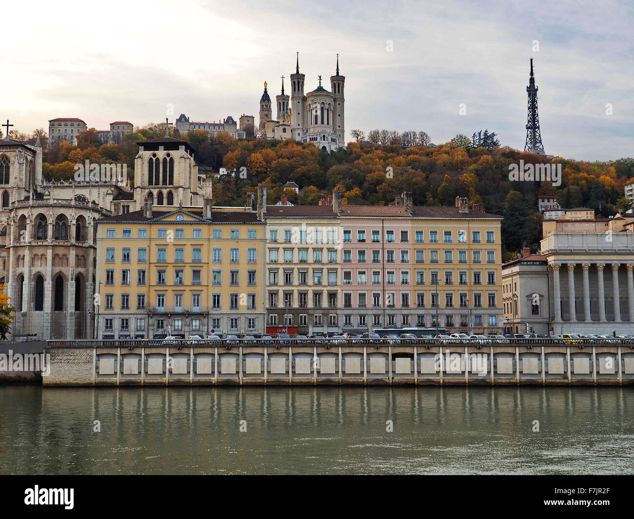 Lyon Cathedral viewed from the River Soane in Lyon France - Stock Image