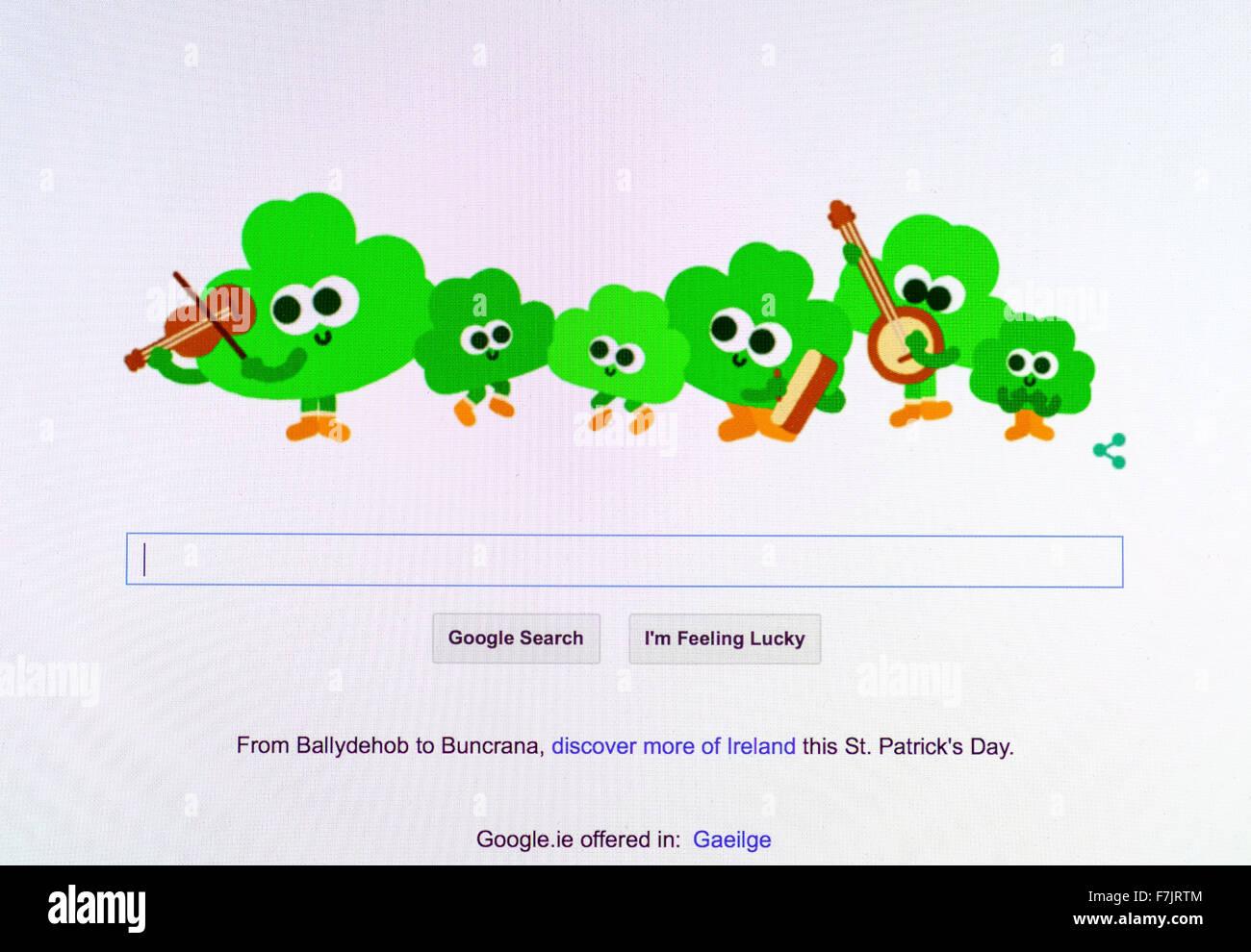 funny google logo st patricks day irish ireland - Stock Image