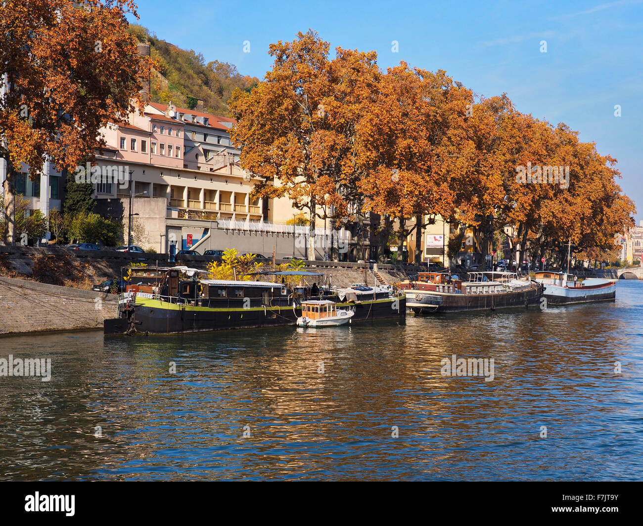 Modern and historic architecture on banks of River Soane, Lyon France - Stock Image