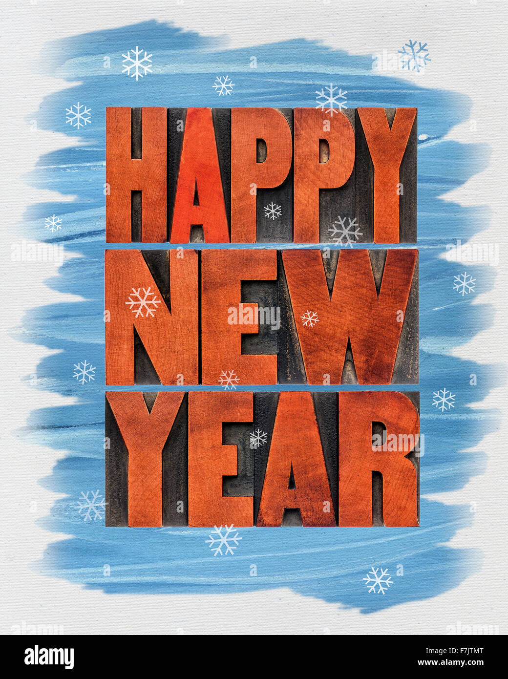 happy new year greeting card a collage of text in vintage letterpress wood type blocks and watercolor painting on canvas