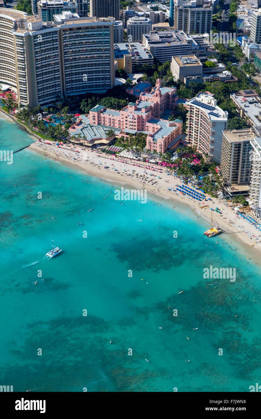 Aerial, Royal Hawaiian Hotel, Waikiki, Honolulu, Oahu, Hawaii - Stock Image