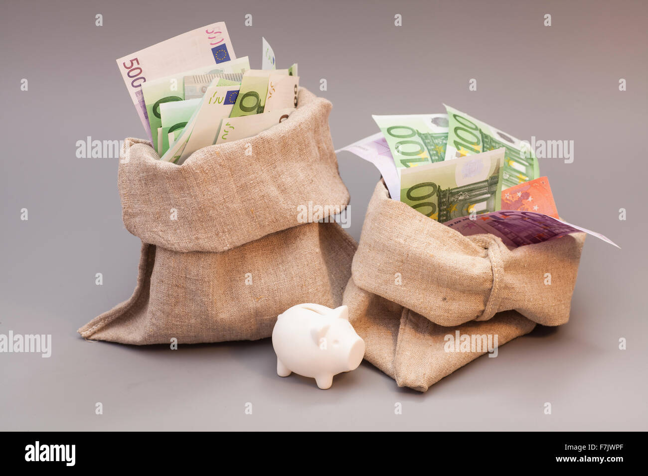 Two money bag with euro and piggy bank on gray Stock Photo