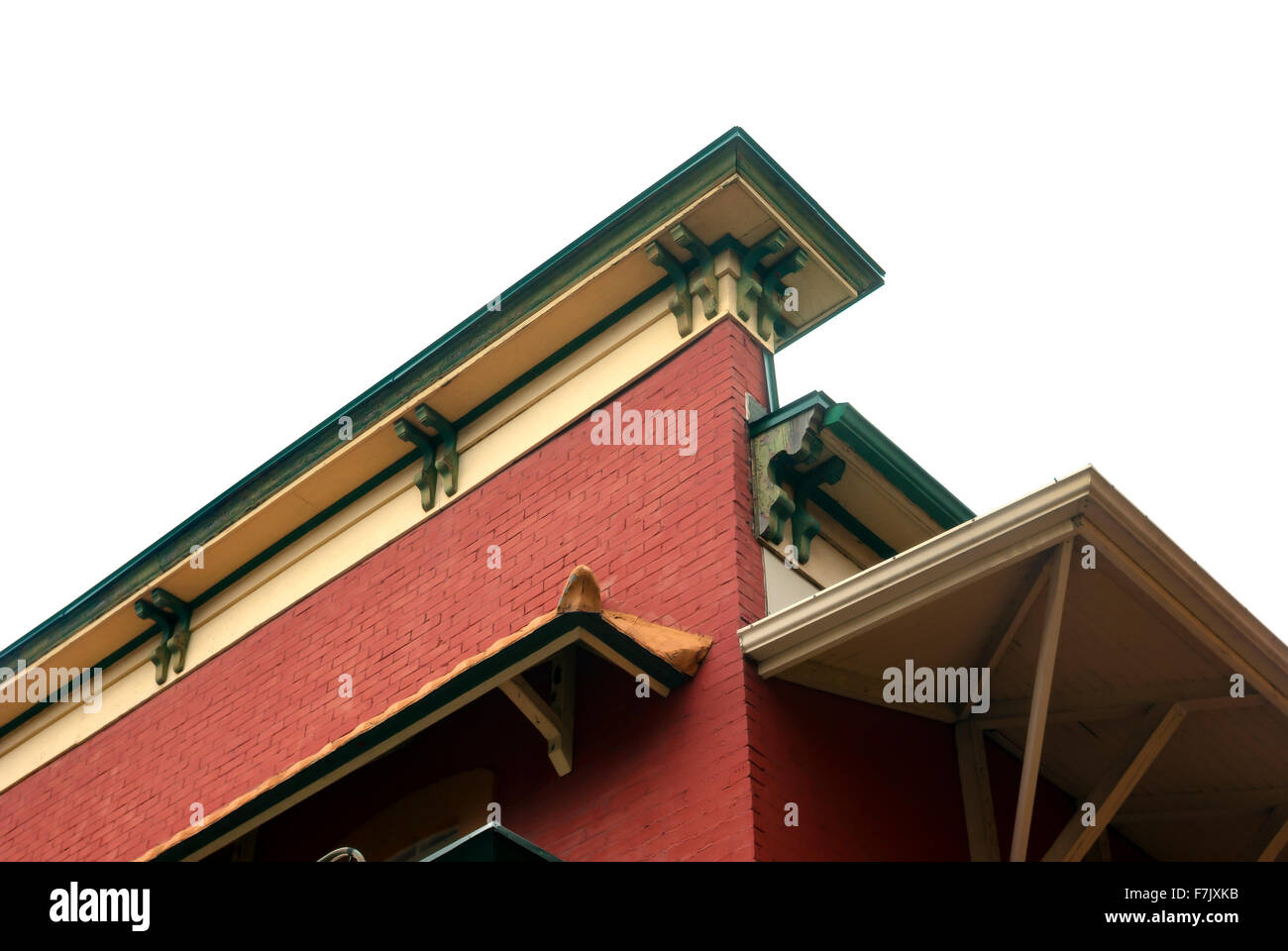 corner of building cornice with brick wall and gutter - Stock Image