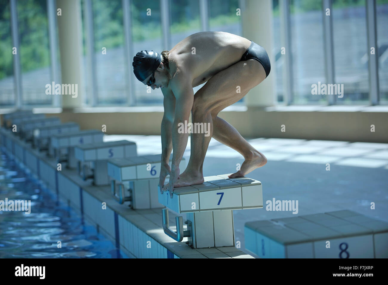 Attractive Young Swimmer On Swim Start At Swimming Pool Ready For Jump Race And Win