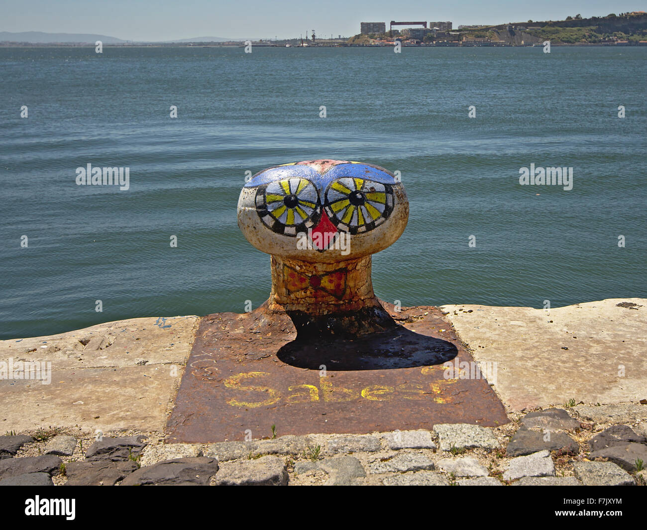 Colourfull bollard with painted bird face  graffiti Stock Photo