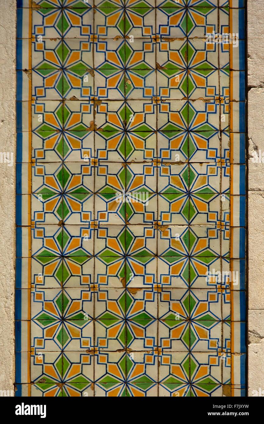 Typical portuguese colourfull azulejos background Stock Photo