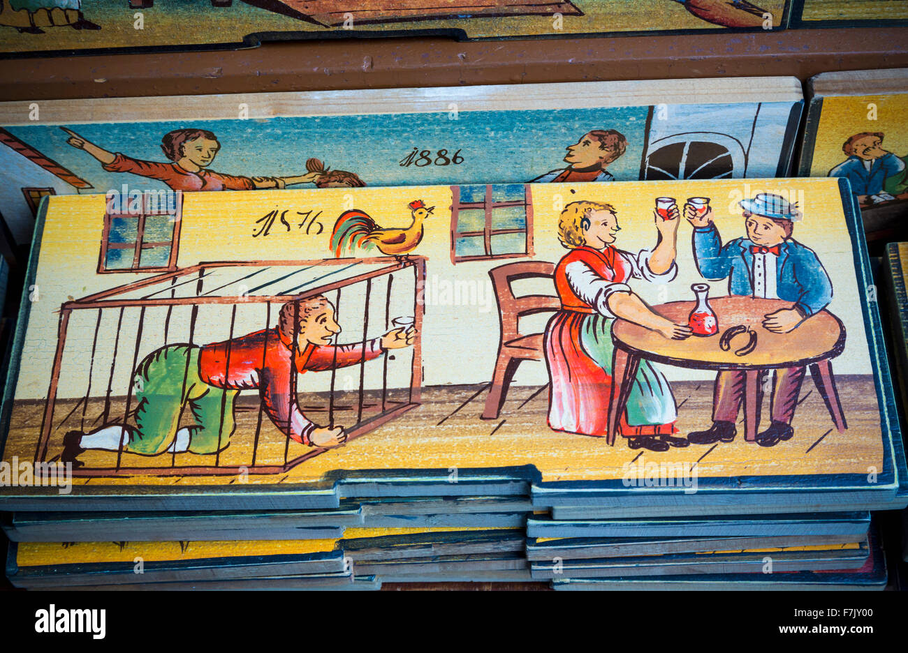 Beehive panels, Slovenia. Copies of originals are a souvenir item with visitors. Originally, the panels decorated Stock Photo