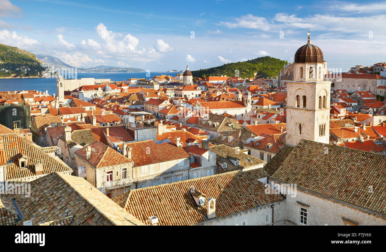 Dubrovnik - aerial view from City Walls of the Dubrovnik Old Town City, Croatia - Stock Image